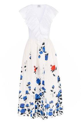 Хлопковое платье с принтованной юбкой и оборками | Фото №1