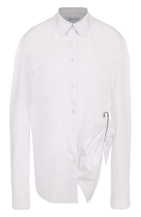 Хлопковая блуза свободного кроя с драпировкой | Фото №1