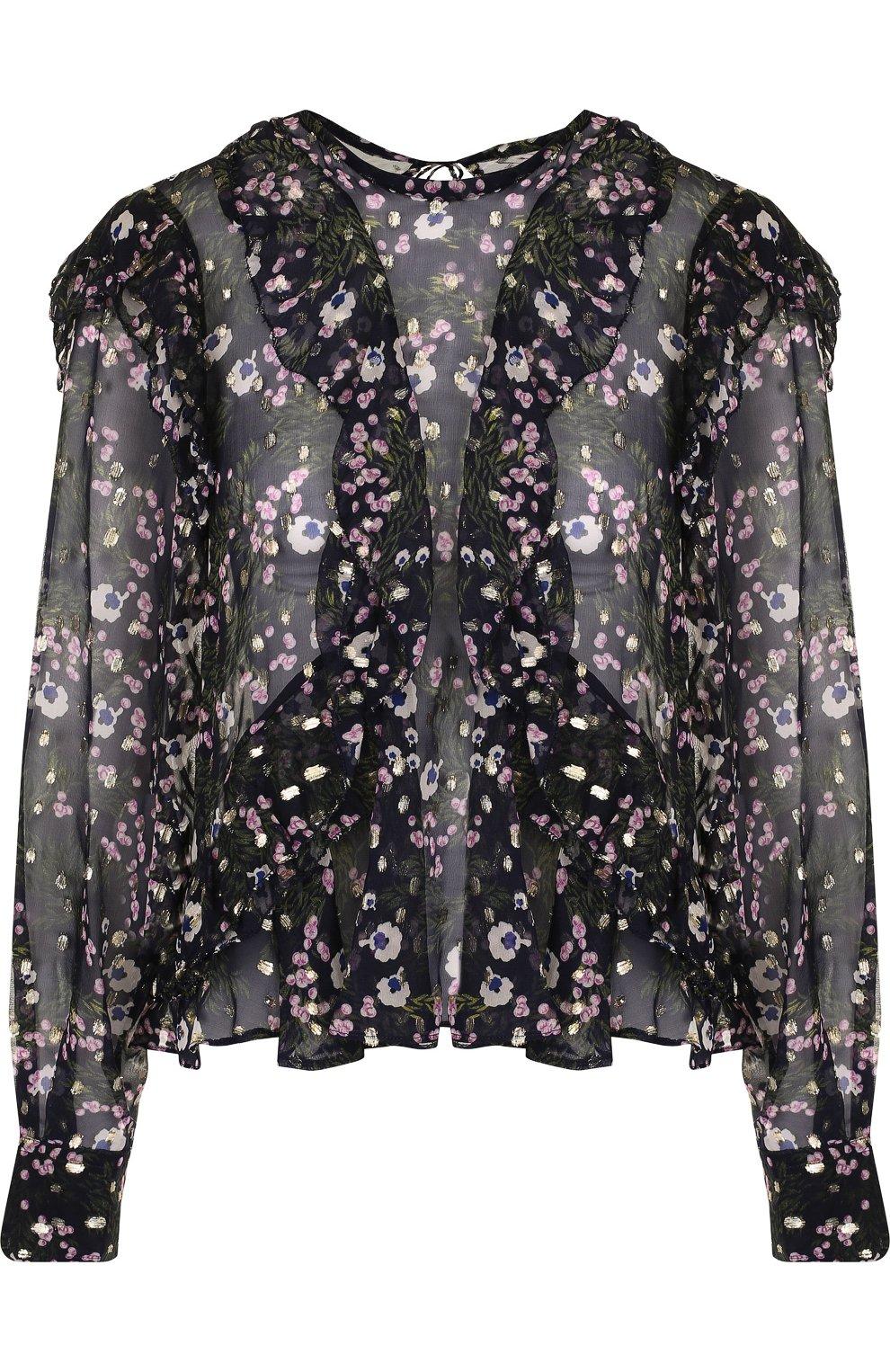 dc6854d3654 Шелковая блуза свободного кроя с принтом и оборками Isabel Marant темно- синяя