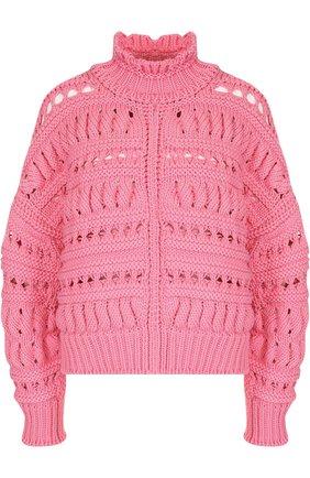 Однотонный свитер фактурной вязки Isabel Marant розовый   Фото №1