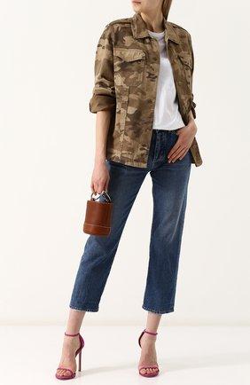 Укороченные джинсы прямого кроя с потертостями Two Women In The World синие | Фото №1