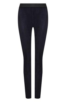 Замшевые брюки-скинни DROMe синие | Фото №1