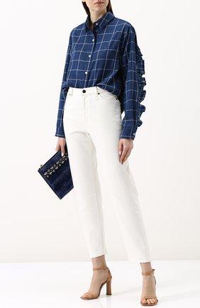 Женская хлопковая блуза свободного кроя с оборками Clu, цвет синий, арт. 18CLT120 в ЦУМ | Фото №1