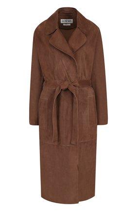 Однотонное замшевое пальто с поясом | Фото №1