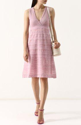 Приталенное платье-миди с завышенной талией M Missoni розовое | Фото №1