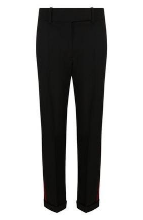 Шерстяные брюки прямого кроя с лампасами Haider Ackermann черные | Фото №1