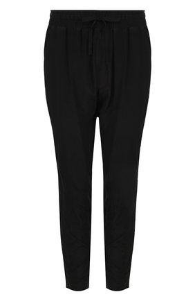 Укороченные однотонные брюки из шелка Haider Ackermann черные | Фото №1