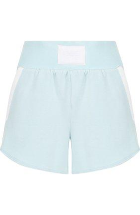 Мини-шорты с широким поясом и карманами Heroine Sport голубого цвета | Фото №1