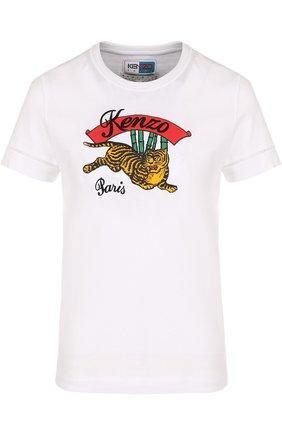Хлопковая футболка с круглым вырезом и логотипом бренда
