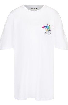 Хлопковая футболка свободного кроя с контрастным принтом | Фото №1