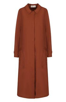 Однотонное пальто свободного кроя из смеси вискозы и льна | Фото №1