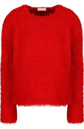 Шелковый пуловер свободного кроя с круглым вырезом Mansur Gavriel красный   Фото №1