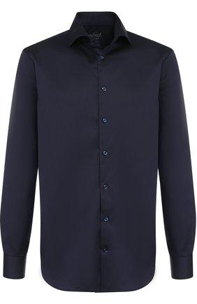 Хлопковая сорочка с воротником кент Van Laack синяя | Фото №1