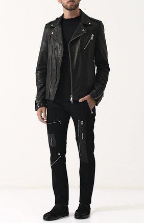 Кожаная куртка с косой молнией Musher черная   Фото №1