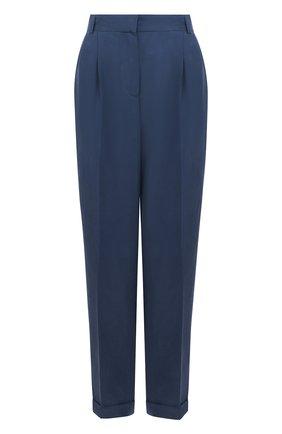 Однотонные брюки с защипами и карманами Van Laack синие | Фото №1
