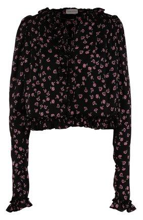 Укороченная шелковая блуза с цветочным принтом | Фото №1