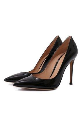 Женская кожаные туфли gianvito 105 GIANVITO ROSSI черного цвета, арт. G28470.15RIC.VERNER0   Фото 1
