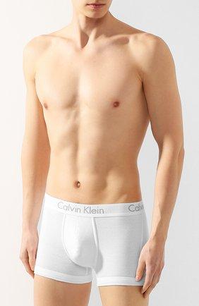 Мужские хлопковые боксеры с широкой резинкой CALVIN KLEIN белого цвета, арт. NB1476A   Фото 2