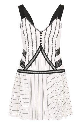Приталенное мини-платье с V-образным вырезом | Фото №1