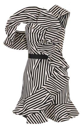 Приталенное мини-платье с драпировкой и оборками | Фото №1