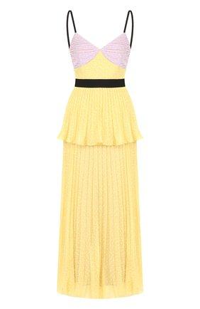 Приталенное плиссированное платье с V-образным вырезом | Фото №1