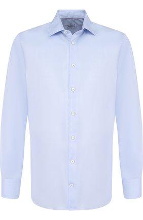 Хлопковая сорочка с воротником кент Van Laack голубая | Фото №1
