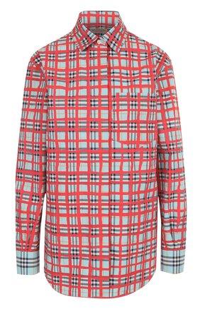 Хлопковая блуза свободного кроя в клетку | Фото №1