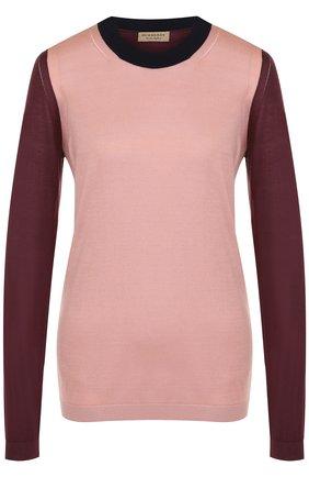 Пуловер с круглым вырезом из смеси шелка и кашемира
