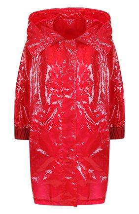 Однотонный плащ свободного кроя с капюшоном Moncler красная | Фото №1