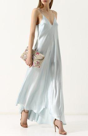 Шелковое платье-комбинация с открытой спиной Walk of Shame зеленое | Фото №1