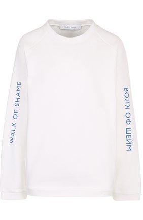 Хлопковый свитшот свободного кроя с логотипом бренда   Фото №1