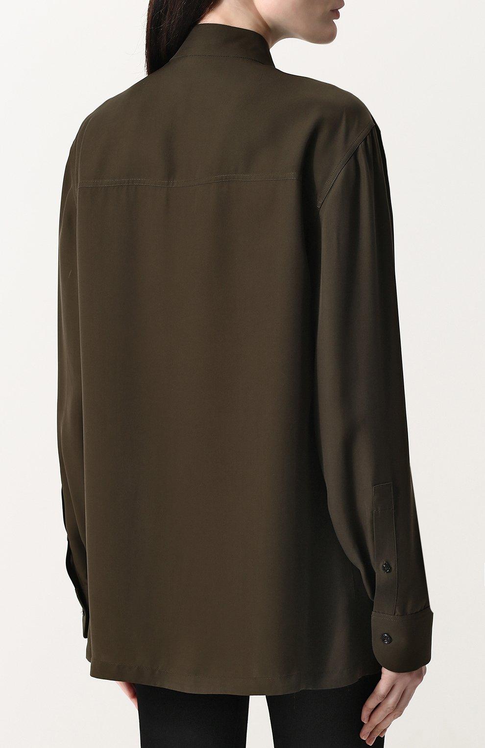 Женский удлиненный бомбер на молнии с воротником-стойкой TOM FORD хаки цвета, арт. CA3098-FAX335 | Фото 4