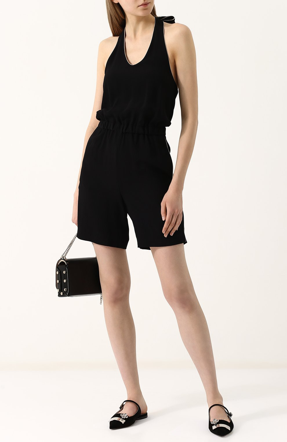 Женский приталенный мини-комбинезон из вискозы GIORGIO ARMANI черного цвета, арт. WAD04T/WA108 | Фото 2