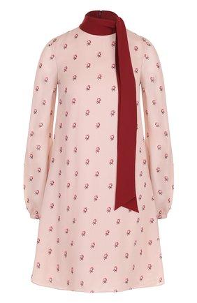 Шелковое мини-платье с принтом и воротником аскот | Фото №1
