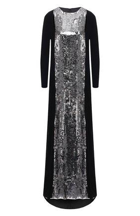 Женское платье-макси из смеси вискозы и шелка с контрастной отделкой VALENTINO серебряного цвета, арт. PB0VD7M0/2UP   Фото 1