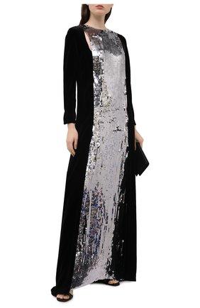 Женское платье-макси из смеси вискозы и шелка с контрастной отделкой VALENTINO серебряного цвета, арт. PB0VD7M0/2UP   Фото 2