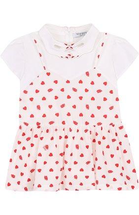 Детское комбинированная блуза из хлопка с фигурным воротником VIVETTA белого цвета, арт. 81 VB419/VIC | Фото 1