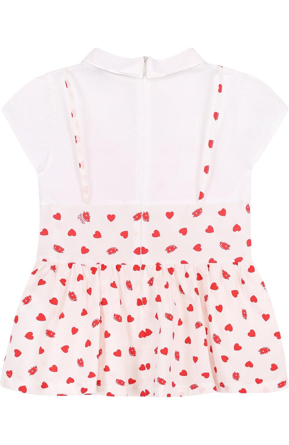 Детское комбинированная блуза из хлопка с фигурным воротником VIVETTA белого цвета, арт. 81 VB419/VIC | Фото 2