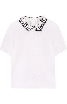 Хлопковая блуза с перфорацией и фигурным воротником   Фото №1