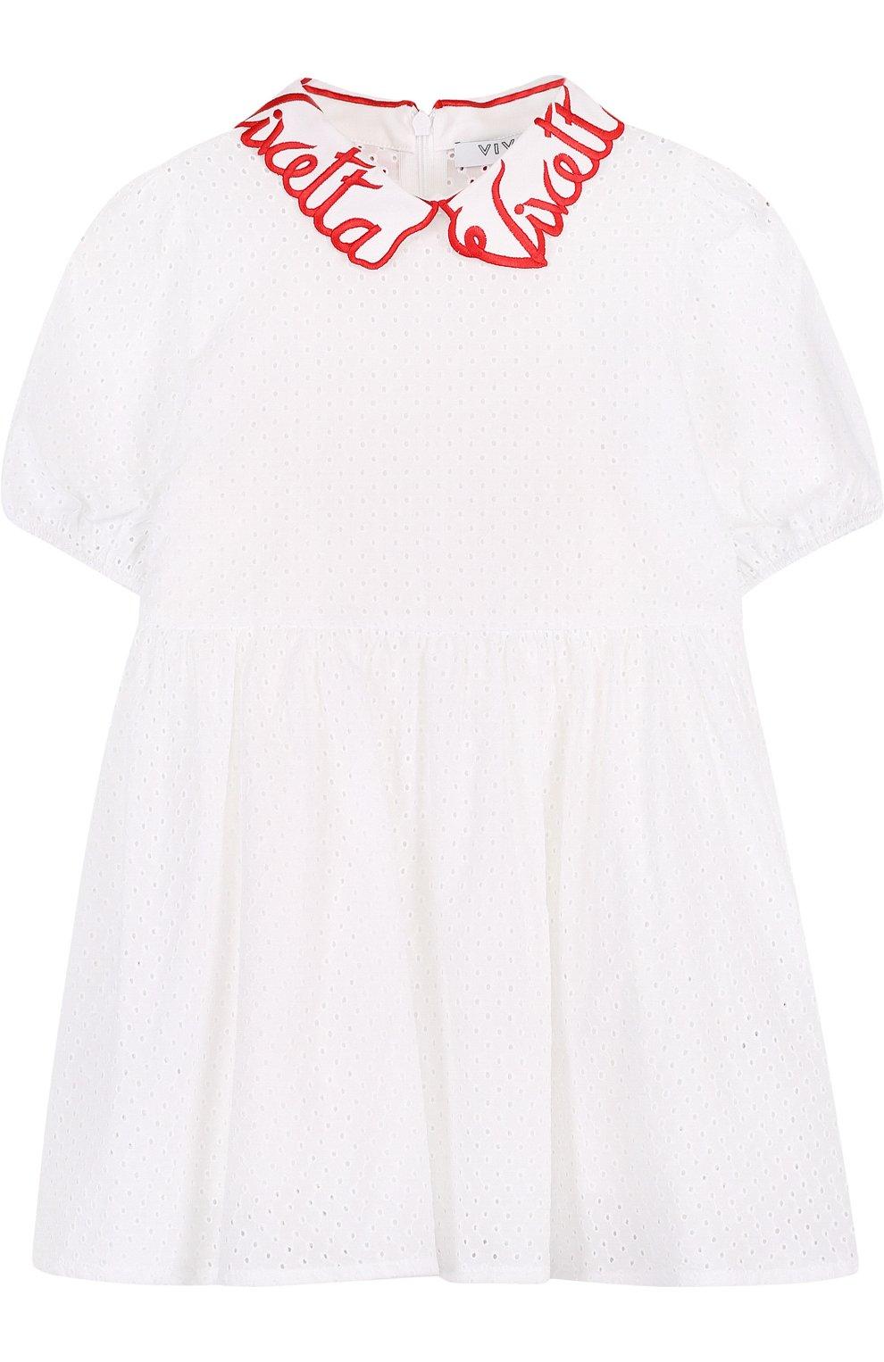 Детское хлопковое платье с перфорацией и фигурным воротником VIVETTA белого цвета, арт. 81 VB523/VIC   Фото 1