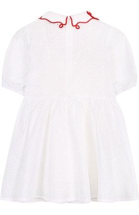 Детское хлопковое платье с перфорацией и фигурным воротником VIVETTA белого цвета, арт. 81 VB523/VIC   Фото 2