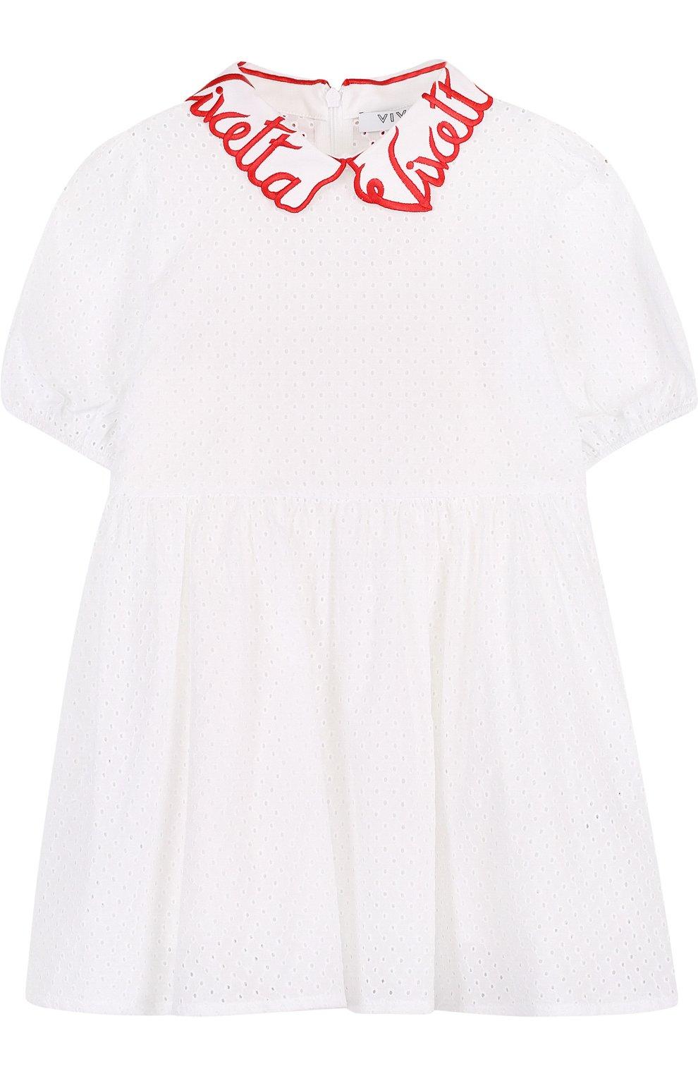 Детское хлопковое платье с перфорацией и фигурным воротником VIVETTA белого цвета, арт. 81 VB523/VID | Фото 1