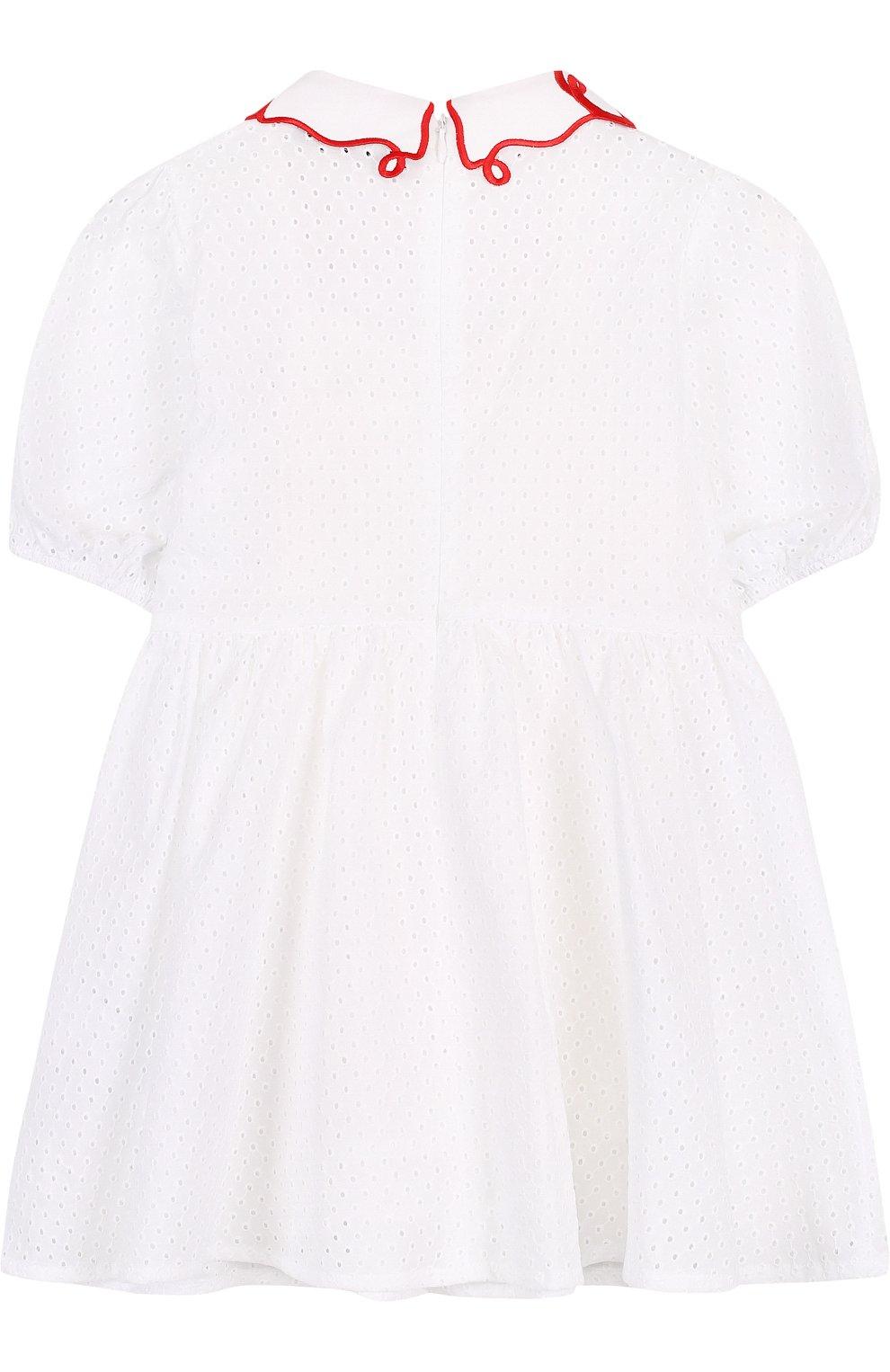 Детское хлопковое платье с перфорацией и фигурным воротником VIVETTA белого цвета, арт. 81 VB523/VID | Фото 2
