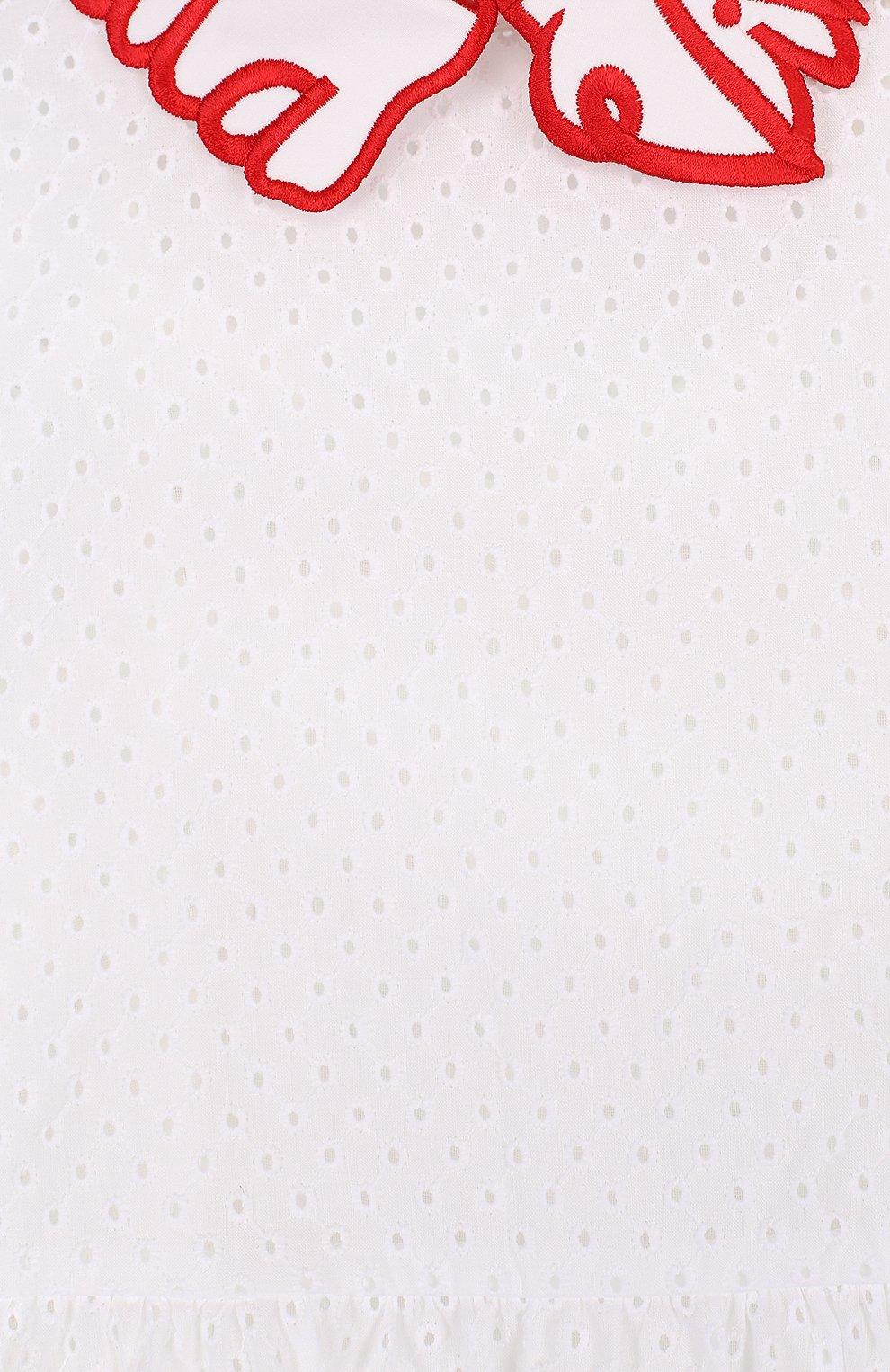 Детское хлопковое платье с перфорацией и фигурным воротником VIVETTA белого цвета, арт. 81 VB523/VID | Фото 3