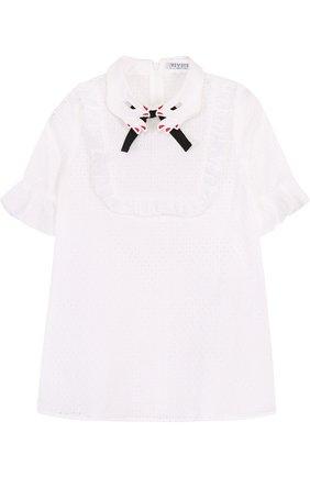 Детское хлопковое платье с перфорацией и фигурным воротником VIVETTA белого цвета, арт. 81 VB529/VID | Фото 1