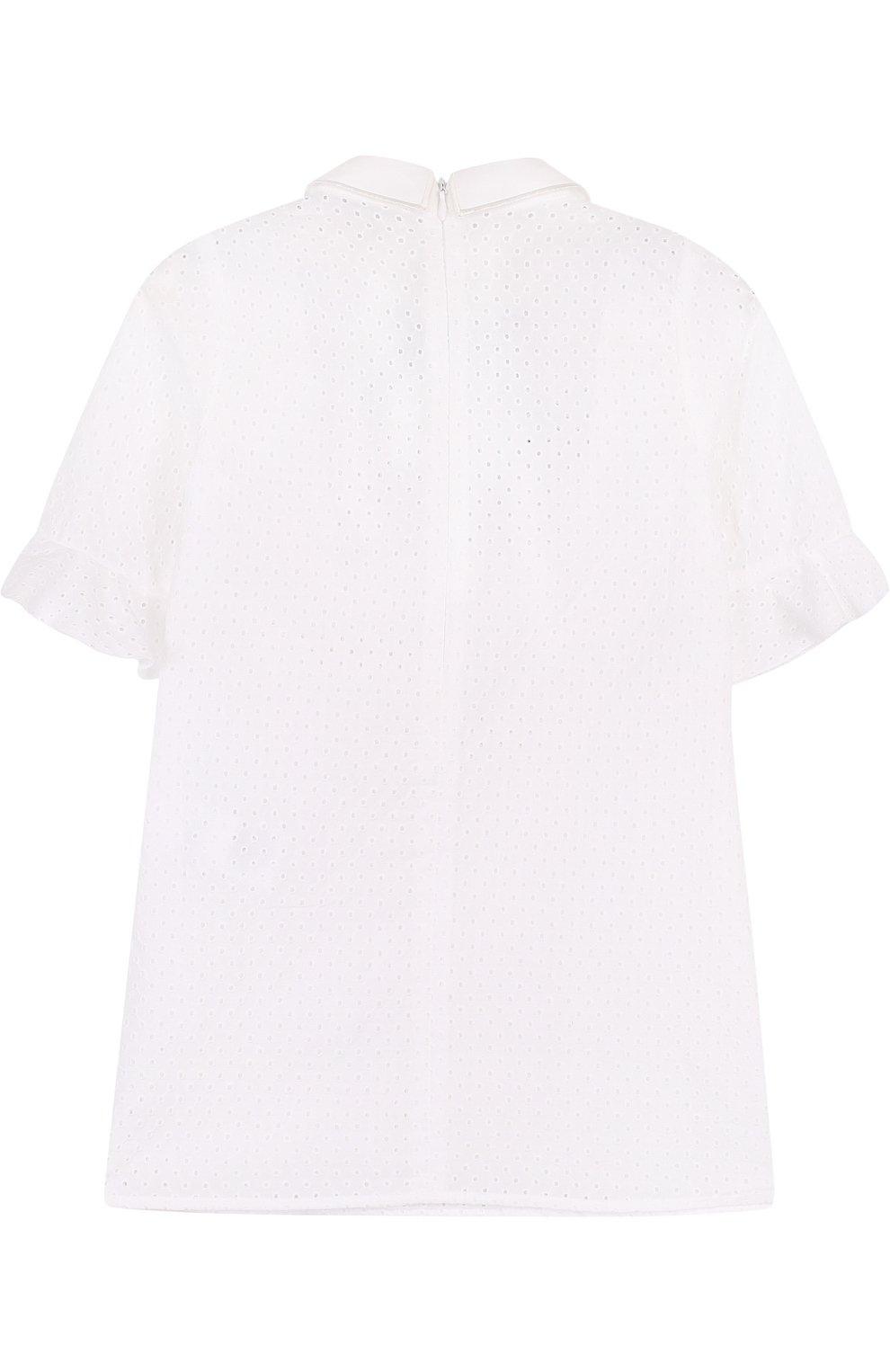 Детское хлопковое платье с перфорацией и фигурным воротником VIVETTA белого цвета, арт. 81 VB529/VID | Фото 2