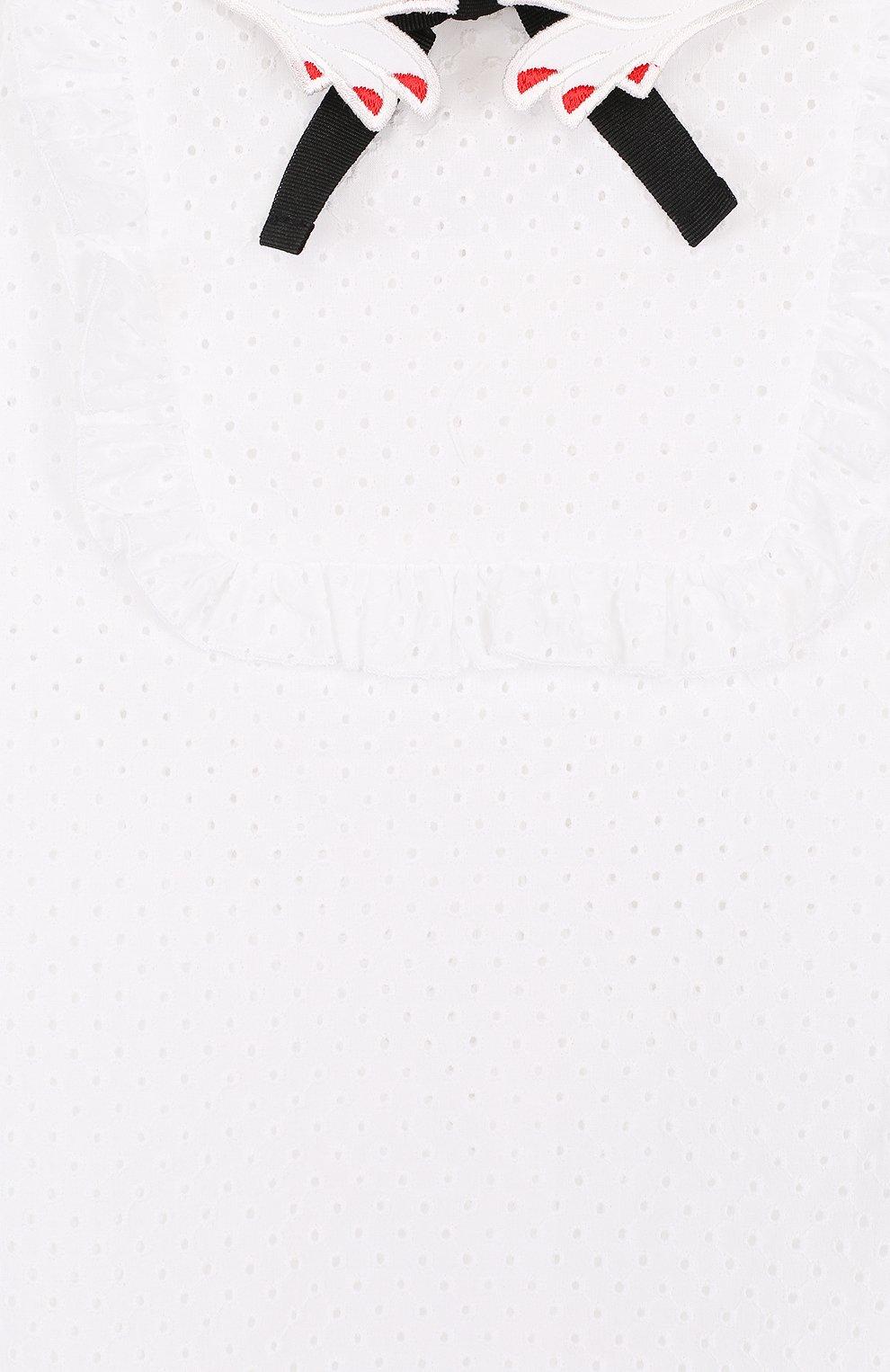 Детское хлопковое платье с перфорацией и фигурным воротником VIVETTA белого цвета, арт. 81 VB529/VID | Фото 3
