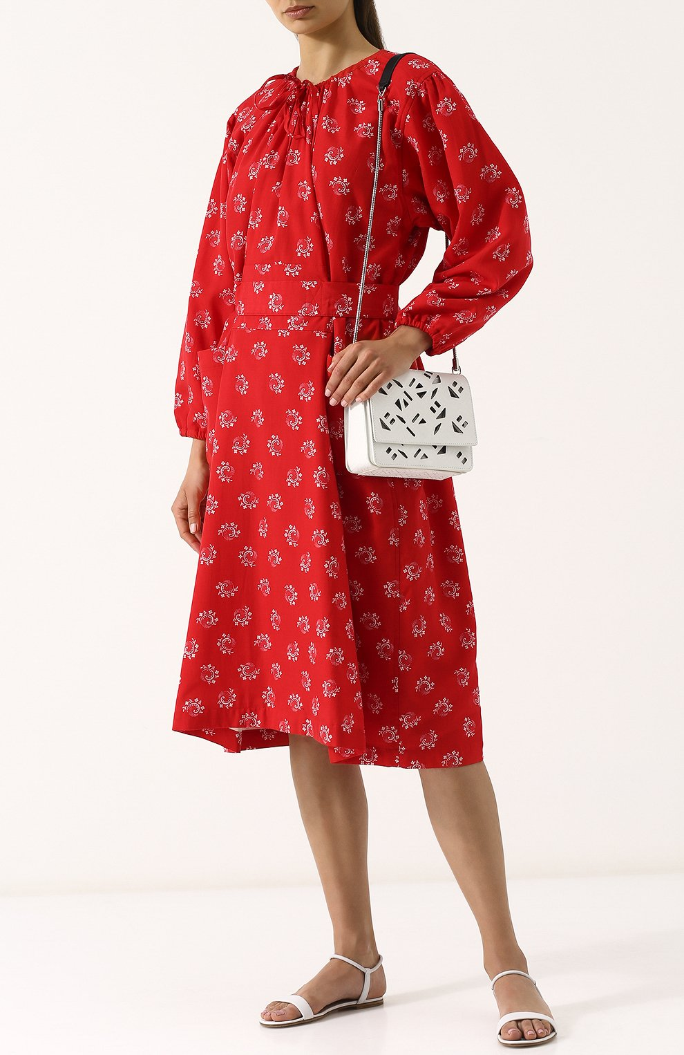 Приталенное платье-миди из вискозы Comme des Garcons GIRL красное   Фото №2