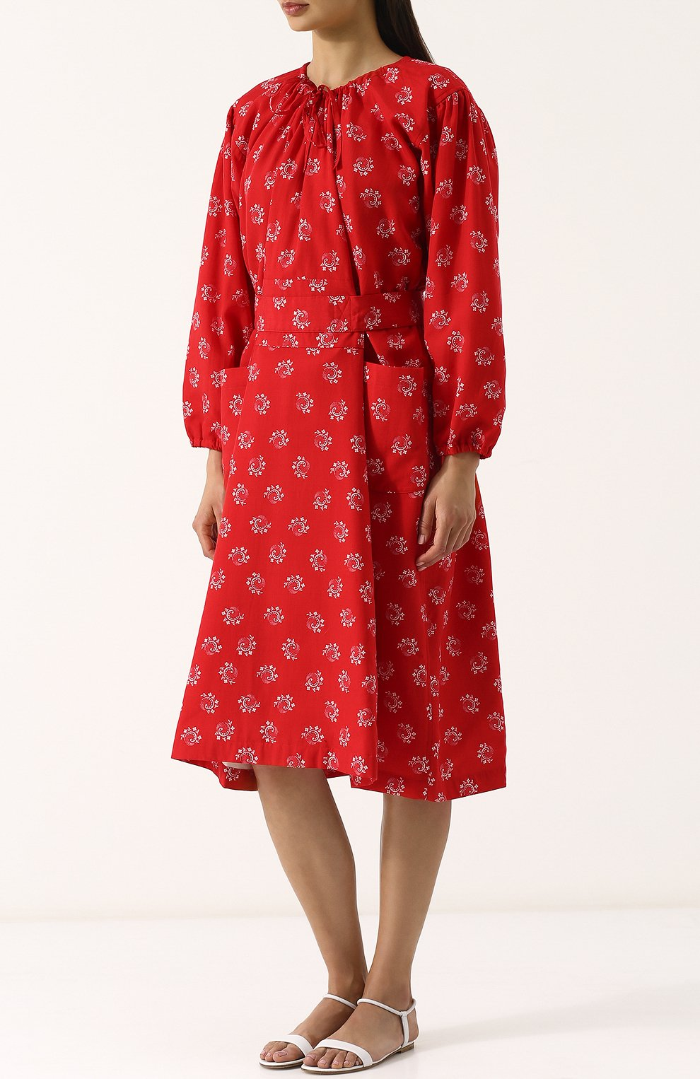 Приталенное платье-миди из вискозы Comme des Garcons GIRL красное   Фото №3