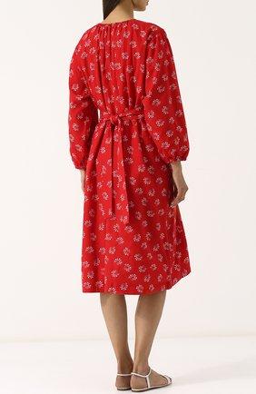 Приталенное платье-миди из вискозы Comme des Garcons GIRL красное   Фото №4